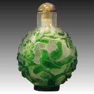Peking cameo glass green birds carved snuff bottle