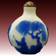 Peking cameo glass blue fisherman on lake carved snuff bottle