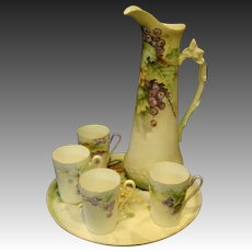 T&V Limoges hand painted grapes pitcher set tray and mugs