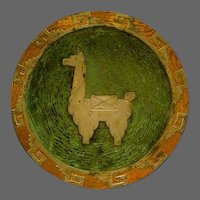 Graziella Laffi mixed media Peruvian sterling silver copper large plaque charger with alpaca