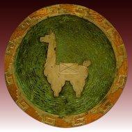 Graziella Laffi mixed media Peruvian sterling silver copper large plaque charger with alpaca