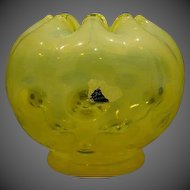 Fenton yellow coin dot rosebowl rose bowl
