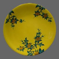 Royal Worcester hand painted floral plate striking yellow and blue colors