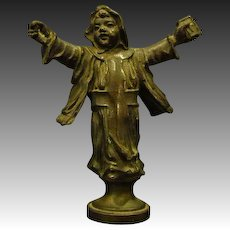 Antique bronze figural boy wax seal