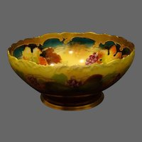 Pickard hand painted footed fruit punch bowl grapes artist signed Seidel