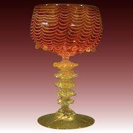 Venetian hand blown cranberry nailsea design goblet