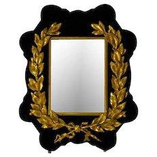 Antique dore bronze velvet wreath mirror West 1st James Street 1800's