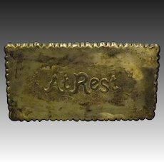 Antique Victorian At Rest silverplate funeral memorial sign