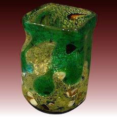 Murano Venetian Italian art glass grotesque vase inclusions lava drippings