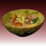 German huge hand painted grapes porcelain punch bowl