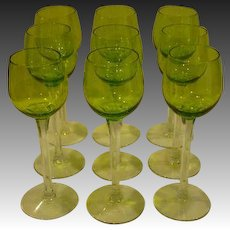 Bohemian tall set of nine matching tall chartreuse green goblets