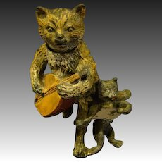 Antique miniature cold painted cat nodder sculpture