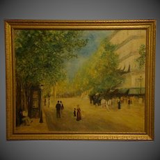 F Covert French impressionist street scene oil painting dated 1952