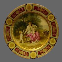 Royal Vienna portrait plate unusual scene woman three children bird beehive mark