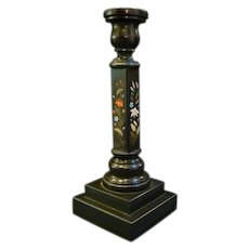 Antique pietra dura tall candlestick - Red Tag Sale Item