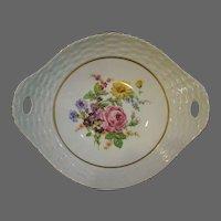 Pirkenhammer porcelain basketweave floral spray handled bowl