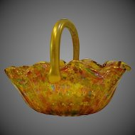 Antique Bohemian rainbow gold enameled art glass basket GORGEOUS