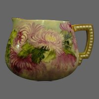 Belleek hand painted chrysanthemum pitcher Ceramic Arts Company