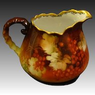 Hand painted red currants pitcher gold rim