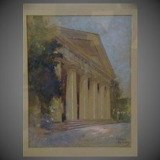 Adrian Mitchell signed watercolor Greek or Roman style building