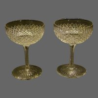 Cut glass strawberry diamond pair of goblets