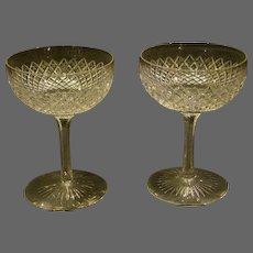 Cut glass strawberry diamond pair of goblets