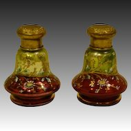 Moser pair unusual enamel glass red chartreuse green floral shakers