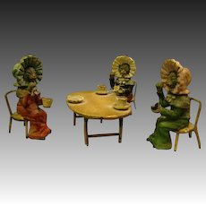Antique cold painted set three miniature cat nodders having a tea party