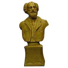Unusual bronze bust of scholarly gentleman solid casting