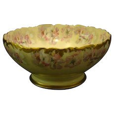 T&V Limoges pink floral footed punch bowl beautiful