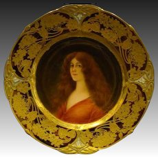 Vienna beehive hand painted portrait plate titled Hoffnung artist signed Wagner