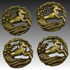 Four art deco gazelle set of four matching buttons