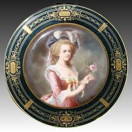 Vienna beehive hand painted portrait plate Marie Antoinette artist signed