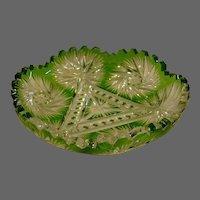 American cut glass green cut to clear bowl