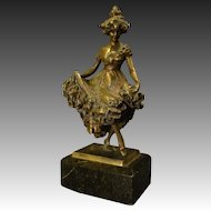 Antique bronze sculpture of Victorian woman dancing