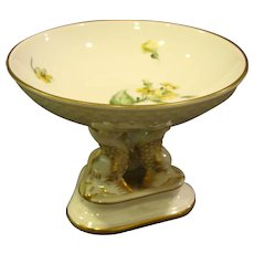 Bing & Grondahl yellow floral dolphin footed compote