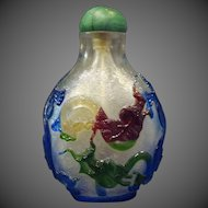 Peking cameo glass multicolored dragon snuff bottle