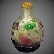 Peking cameo glass snuff bottle multicolored fish plant life fishscale background