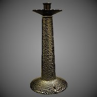 Murano tall Italian art glass black silver flecks candlestick