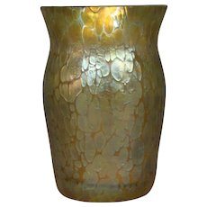 Loetz Papillon gold oil spot art glass vase