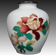 Japanese cloisonne red roses green leaves white vase