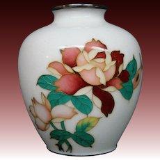 Japanese cloisonne red roses green leaves white vase