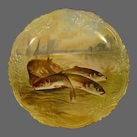 Limoges Flambeau hand painted fish charger wall plaque artist signed Henrious