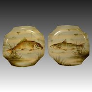 French porcelain pair of hand painted large fish chargers wall plaques