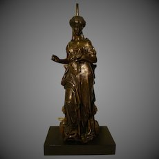 Eutrope Bouret signed antique French bronze sculpture mounted as lamp