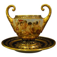 Vienna beehive mark hand painted cupids bowl and underplate