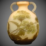 Galle French cameo glass large two handled Queen Anne's Lace vase