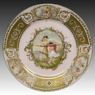 Vienna hand painted portrait plate woman cupid artist signed Bauer Maraudeur