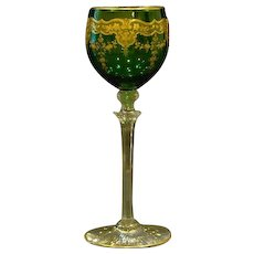Moser green and gold floral tall stem goblet - Red Tag Sale Item