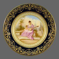 Vienna beehive cobalt porcelain portrait plate cupid woman and mandolin